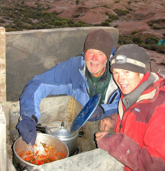 Cooking a delicious [?] supper with Simon.  The wind-chill factor was ...