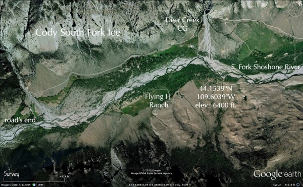 overview of the E.Fork of the Shoshone River valley ice climbing area