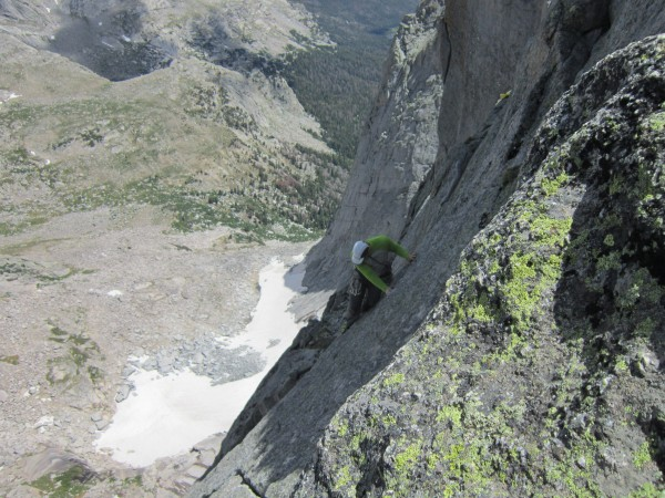 "The classic ""piton"" traverse. Airy!"