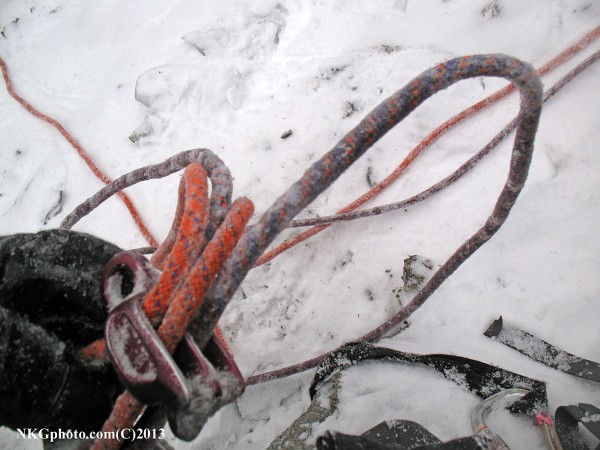 Cold day with lots of water running made rope management a real chore!...