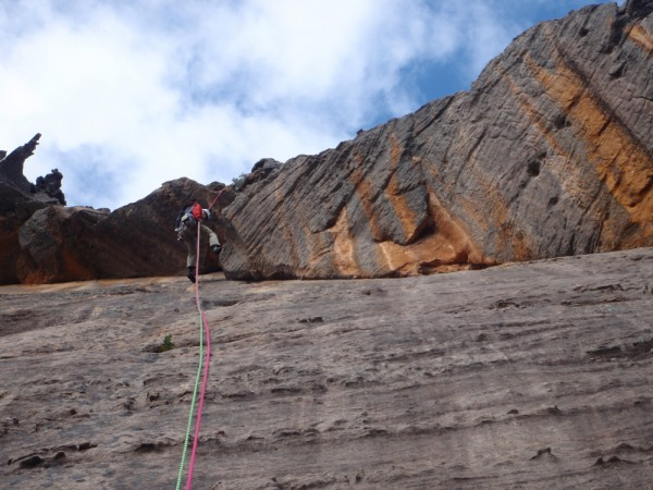 Mike post-inspecting the route he just led on the way down (& blow...