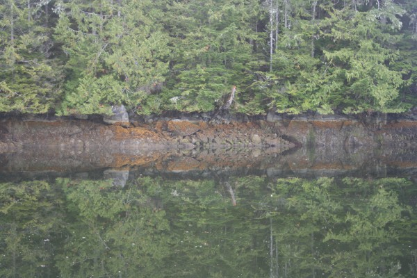Still water reflection, at an anchorage on the inside passage Alaska, ...