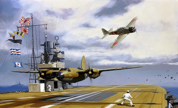 Lt. James Muri  hurtling down the flight deck of Akagi, mere feet away...