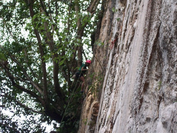 "This is one of the teens nearing the top of a route called ""Balite"" it..."