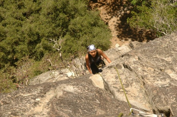 Ernita finishing her first Yosemite route on Manure Pile Buttress.