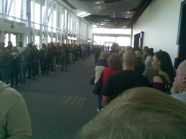 The ENDLESS serpentine lines waiting to get in to the Crossroads Gun S...