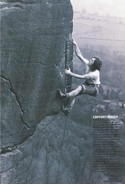 Steve Bancroft climbing Strapadictomy at Froggatt