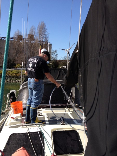 Cleaning the deck, getting ready for summer cruising, goin' south <br/>