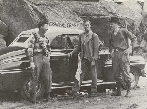 Unidentified climber, Fred and Pete Schoening