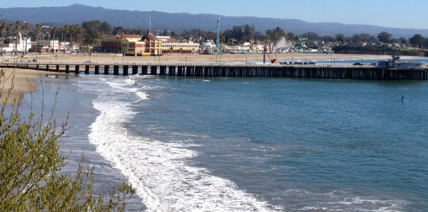 Santa Cruz Boardwalk and Pier from West Cliff Drive.