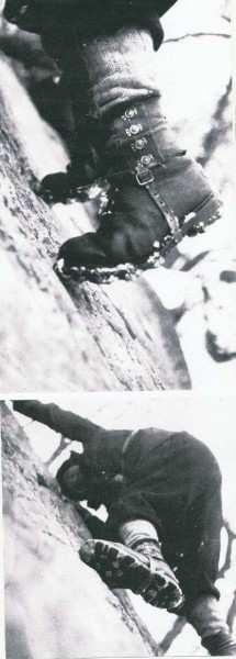 Climbing shoes in Fontainebleau 1945