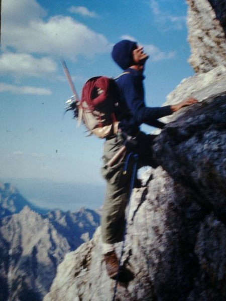 Donini on the west face of the Grand Teton, August 1970 <br/> Photo by Al ...