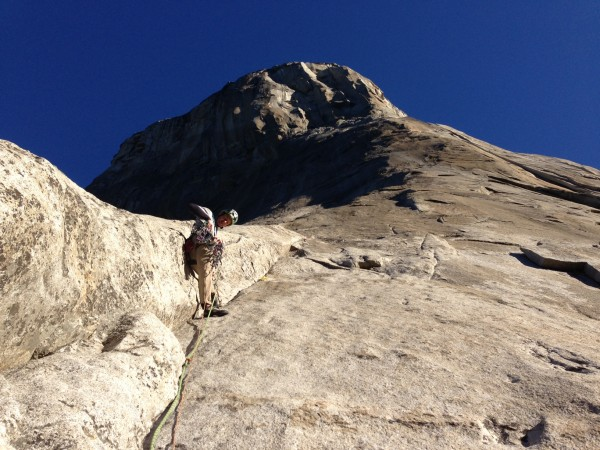 Mark Melvin on Pitch 4 of The Nose on a one day winter ascent (tem...