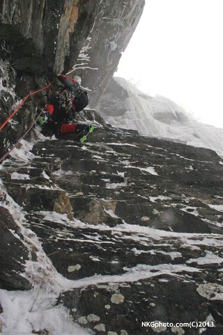 Nick leading the second pitch void of ice