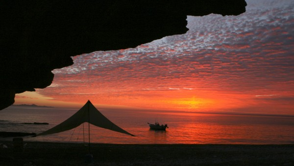 Sunrise at Big Horn Camp on the Sea of Cortez mid-way between Escondid...
