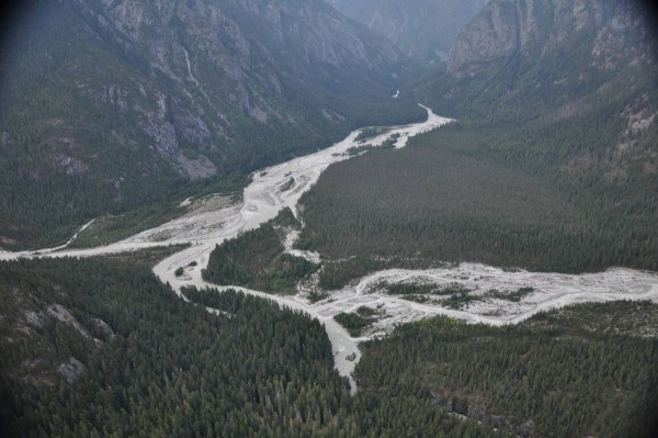 A couple of minor creeks in the Coast Mountain combine to form a large...