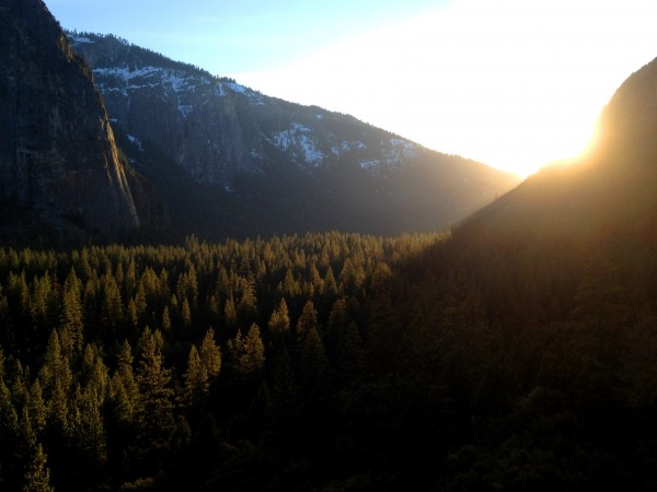 The sun setting as we rap off from above Pine Line