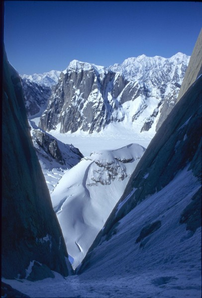 A view back to Mount Dickey from inside the couloir