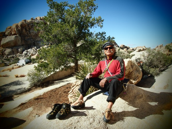 Clark at the base of Hands Off, Joshua Tree Jan 2013