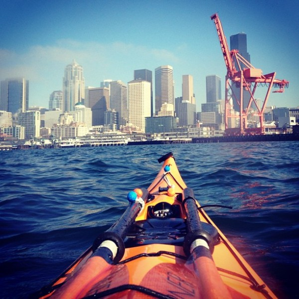 Paddling toward downtown Seattle, yesterday.