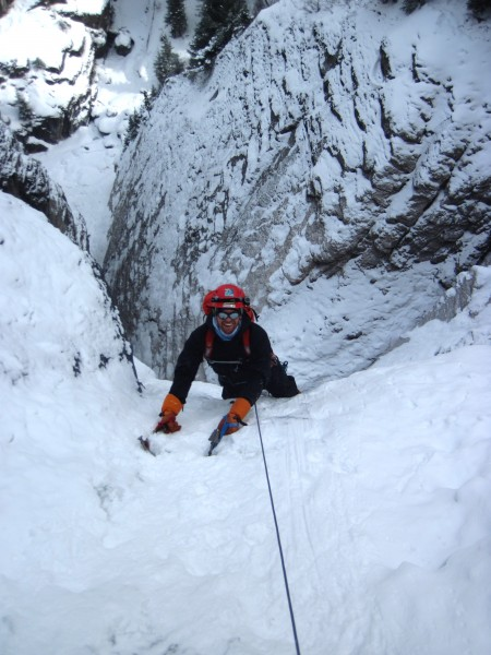 Travis approaching the 1st belay (1/14/13). Where I had just e...