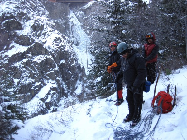 Happy guys about to rappel back to our packs at the base of the route....