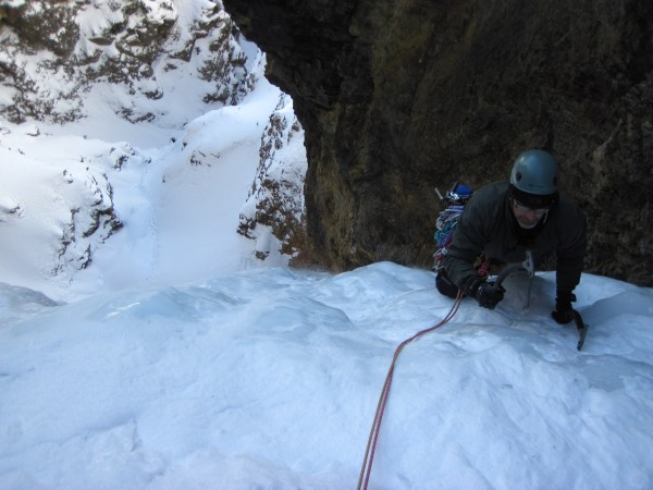 Frank coming off the steep and up to the 1st belay.