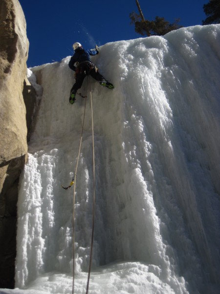 Rob topping out on the crux pitch of CCC Falls (1/18/13).