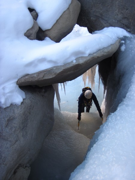 Rob coming up through a sweet little cave (1/18/13).