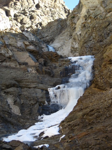 ... the approach ice for Cabin Fever with part of the route peaking ov...