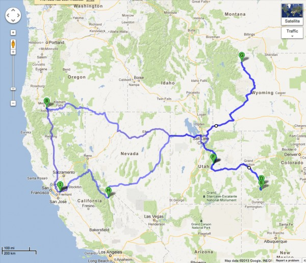My approximate route to and from southern Oregon - courtesy of googlem...