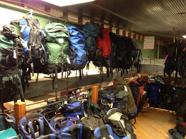 """packorama"" in The 2nd Wind used gear store in Bozeman."