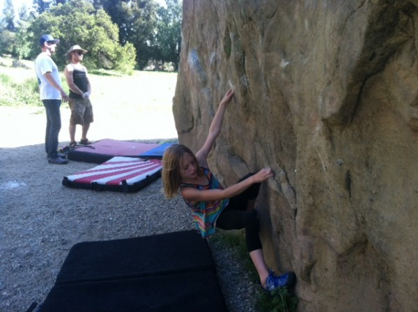 Here is nine year old Dina out cranking all the adults..Boulder one lo...