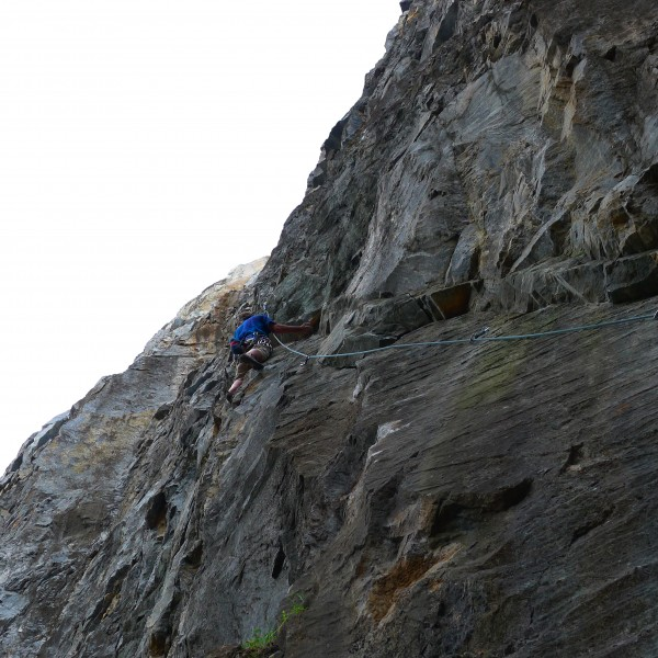 Bill Price works his other new route, 5.11?, Twin Towers.
