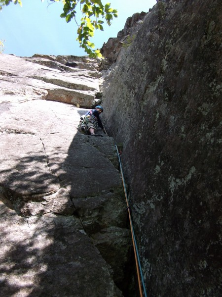 Hesitation (5.8), Upper Washbowl Cliff, Adirondacks