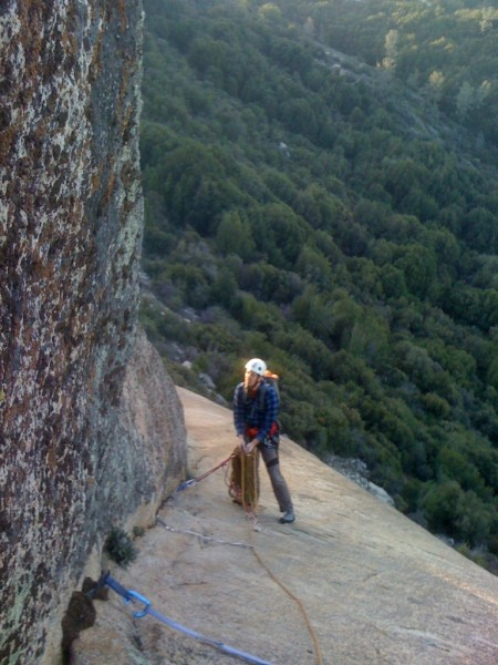 Nice morning light on the belay below the crux on Free and Easy.  Bumm...