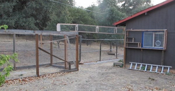 Catwalk cage between house and poop-yard!