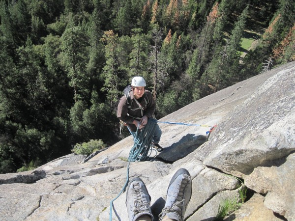 hunter hangen at the pitch 3 belay