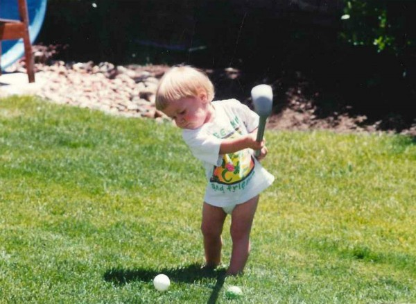 holy crap...  <br/> A Little Pickle... golfing.  <br/> Look at that face.   <br/> ...