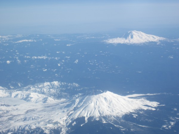 Nice view of Mt. Saint Helens and Mt. Adams before landing in Seattle.