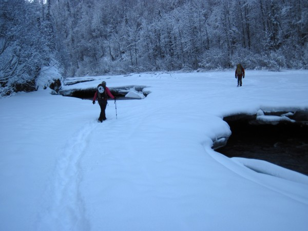 Cindi and Harry hiking on snow atop ice over Hunter Creek (2/16/13...