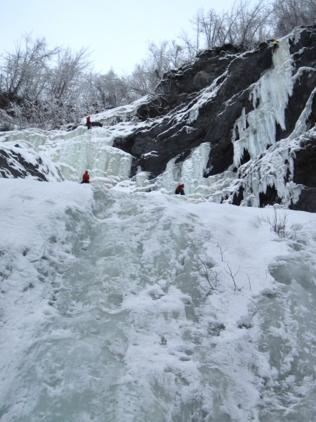 Harry belaying me on the last pitch of Starbright (left 3rd of pic...