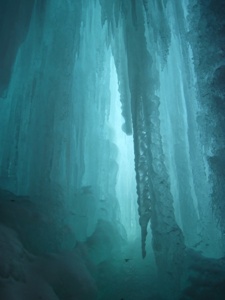 The ice cave belay for the 1st pitch was ethereal.