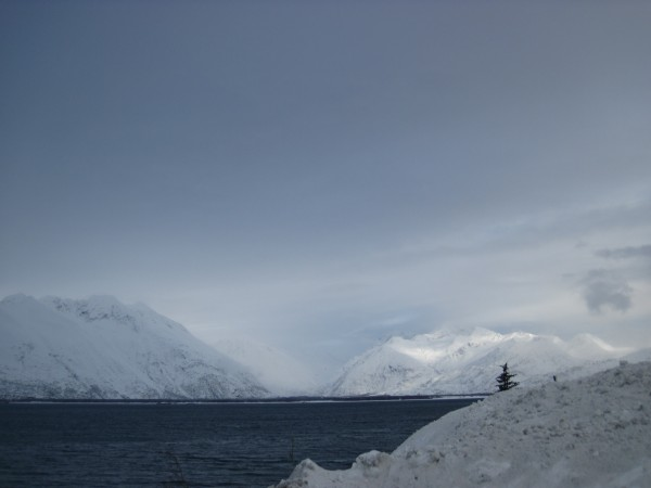Looking across the Valdez Bay.