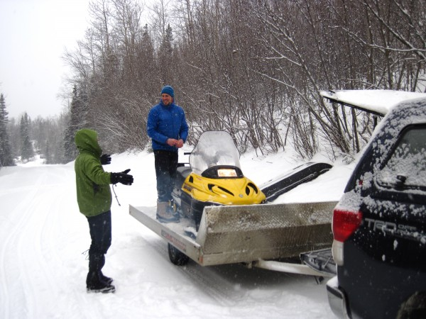 Stuart brought Harry's and his snow mobiles from Anchorage. John broug...