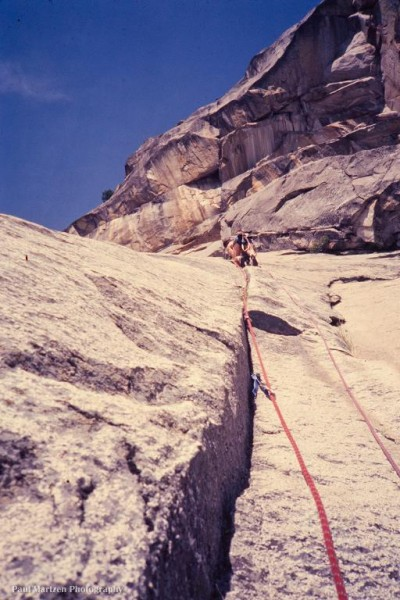 Mr. Big leading on a route immediately to the left of Sunset Buttress ...
