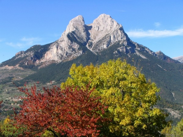 Pedraforca, with its characteristic pitchfork shape (the name mean...
