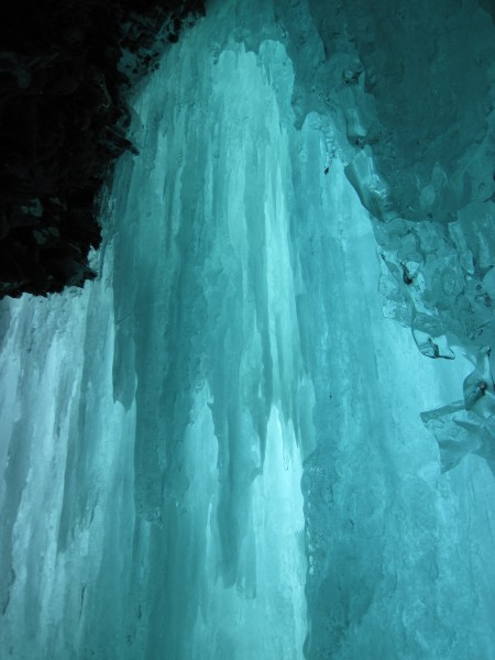 The ice cave at the end of the 1st pitch of Bridal Veil was many tens ...