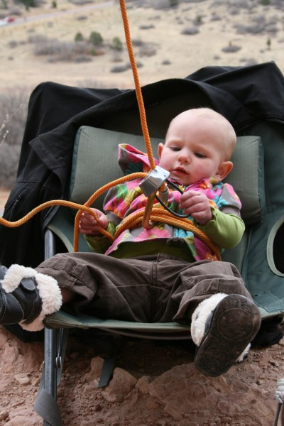 Bear Bruton Working on her belay technique in The Garden of the Gods.