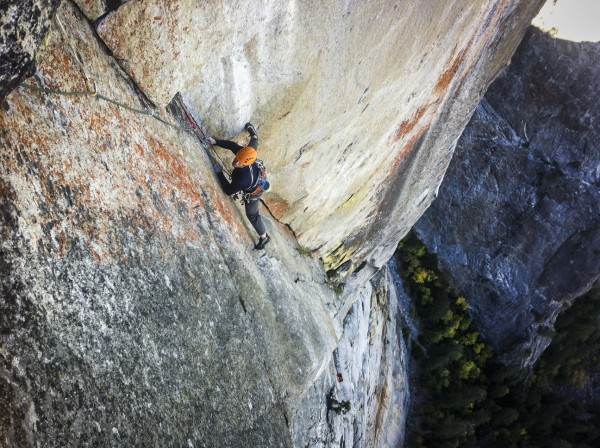 James Lucas on pitch 16 some of the only crack climbing of the whole r...